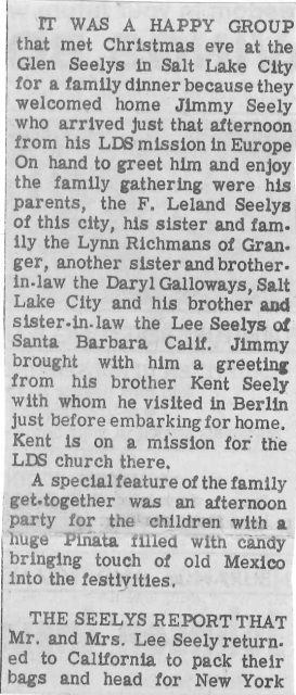 Newspaper article about the Seely family party at Glen Seely's home when Jimmy returned home from his mission.
