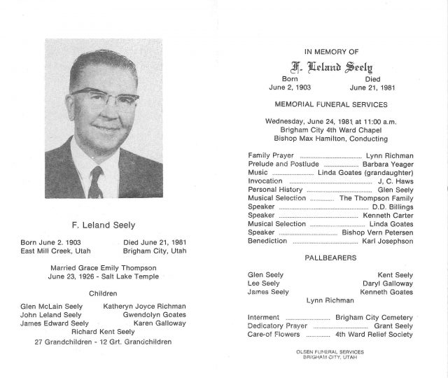 F Leland (Jim) Seely funeral program