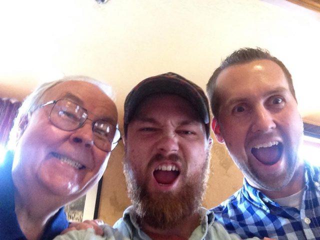 Jim, Jimmy, Mark Seely at Kent's 70th birthday dinner June 2014