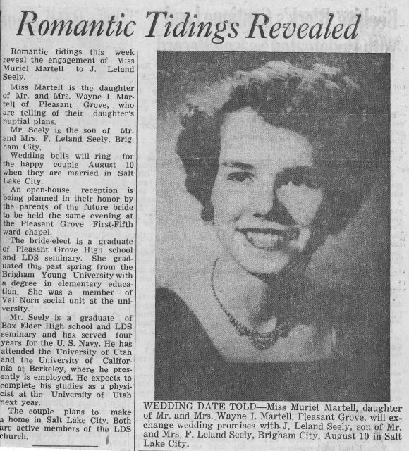News article about Lee & Muriel Seely wedding