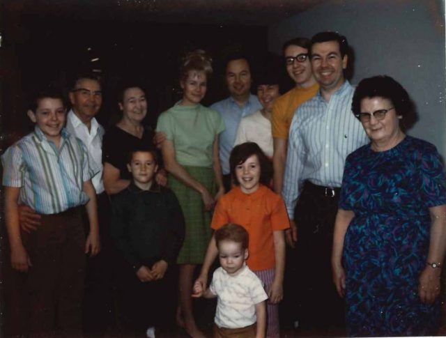 Seely and Richman families. Left to right (back row): Larry, Leland, Grace, Muriel, Lee, Joyce, Jeff, Jim, Boston; (front row): Rick, Joy, Richy