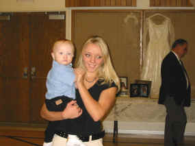 Jamie holding her cousin's son Trevor