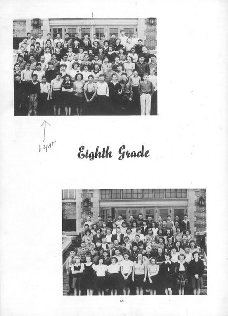 Lynn's yearbook in 1943, 8th grade