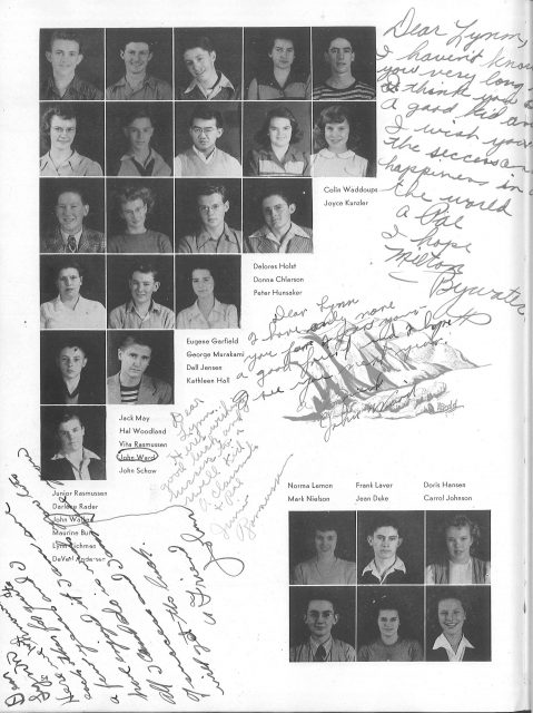 Lynn's yearbook in 1945, Sophomore Year