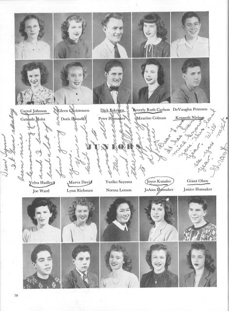 Lynn's yearbook in 1946, Junior Year