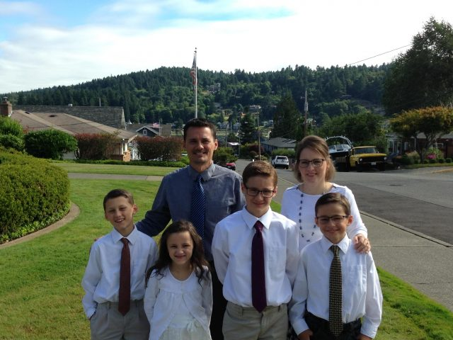 The Hester family on July 22, 2017, the day Emerson was baptized and Weston was ordained to the Aaronic priesthood.