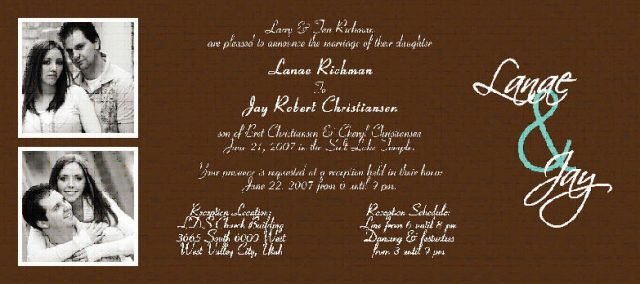 Lanae Richman married Jay Christiansen on June 21, 2007 in the Salt Lake Temple