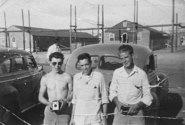 Lynn, Joe Ward, and Duane Parsons on a road trip in 1941 Chevy, Summer 1945 or 1946